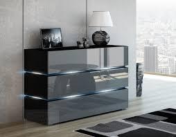 kommode shine sideboard 120 cm grau hochglanz schwarz led beleuchtung modern design tv möbel anrichte sigma