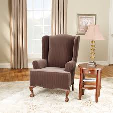 Surefit Stretch Pinstripe 2-Piece Wing Chair Slipcover, Black Sure Fit Stretch Stripe Wing Chair Slipcover Walmartcom Fniture Armless For Room With Unique Striped Wingback Beachy Blue White Surefit Sage Double Diamond Slipcovers Navy Parsons Used Moving Piqu One Piece Form Machine Washable Shop Ticking Free Indoor Chairs Covers Maytex Pixel 1 Back Arm Complete Your Collection Custom By Shelley Wingback Chair