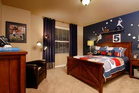 Rooms With Navy Blue Curtains Kids Traditional Brown Armchair Accent Wall Teenager Boys Bedroom
