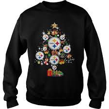 Ladies Tee Pittsburgh Steelers Christmas Tree Sweater