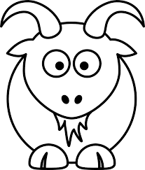 Lemmling Cartoon Goat Black White Line Art Coloring Book Colouring Drawing 999px 123K