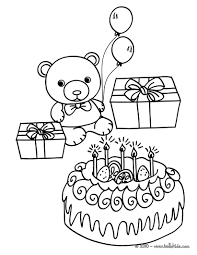 Birthday cake teddy bear coloring page