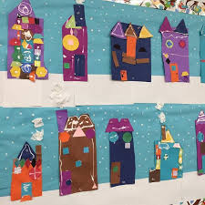 Finally Got My Winter Shape Houses Up Today Yes I Painted Falling Snow On The Background Paper Needed Some Creative Outlet LOVE Art By Five