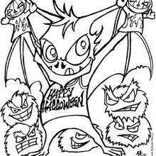 Dreadful Bat Monster Halloween Coloring Page