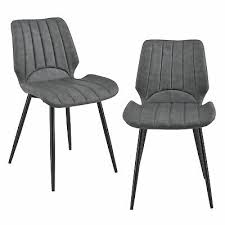 en casa 2x stühle dunkelgrau lehnstuhl esszimmer stuhl polsterstuhl lounge set