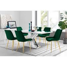 essgruppe fisher mit 6 stühlen perspections farbe stuhl grün goldfarben