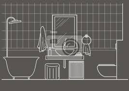 fototapete architektonische skizze linear badezimmer interieur frontansicht