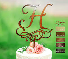 Letter H Cake Topper Wedding Rustic