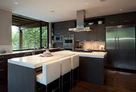 KitchenDecorating Minimalist House Kitchen Design With Wooden Floors And Black Cabinets White