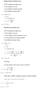 investing what s the formula to calculate the monthly or lump