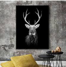 schwarze sika hirsch leinwand druck poster wohnzimmer bild