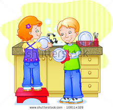 Clipart Boy Wash Dishes