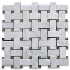 carrara white 1x2 basketweave mosaic tile w emperador dots