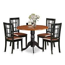 East West Furniture DLNI5 BCH LC 5 Piece Dining Table And 4 Solid Wood