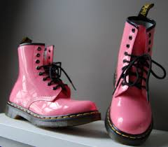original dr doc martens pink patent leather combat boots sz 6 new