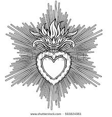 Sacred Heart Of Jesus With Rays Vector Illustration Black Isolated On White Trendy Vintage