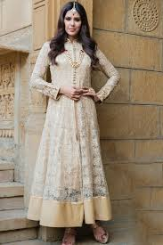 gold lace thread worked indo western with high neck design
