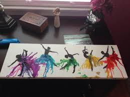 DIY Rainbow Melted Crayon Art Canvas Dance Dancer Silhouette
