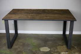 Reclaimed Wood And Steel Dining Table Desk