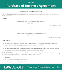 Purchase Of Business Agreement Sample