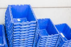 Download Plastic Shipping Boxes For Delivery Logistics Blue Crate Stock Image