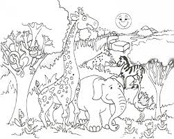 Preschool Jungle Coloring Pages With Giraffe Elephant Monkey Zebra And Other Animal Trees Sun Mountain View