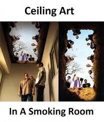 dopl3r com memes ceiling art in a smoking room