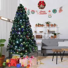 Goplus 6 Pre Lit Fiber Optic Artificial Christmas Tree W 180 LED Lights Top Star