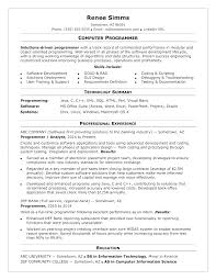 Software Resume Examples Programming Computer Programmer Resumes Sample No Experience Java Objective