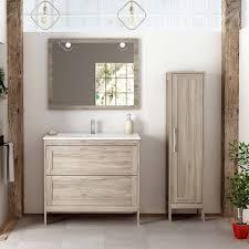 badezimmer hochschrank 1 türig re li tarifa 100 in kiefer grau nb b h t ca 35 160 32cm