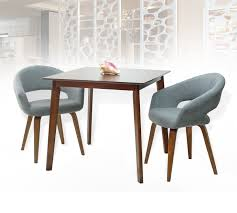 Dining Kitchen Set Of 3 Square Wooden Medium Brown Table With 2 Lagos  Armchairs Light Gray Color