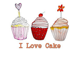 I love cakes Illustrated Illustration Art Print watercolours Cupcake prints