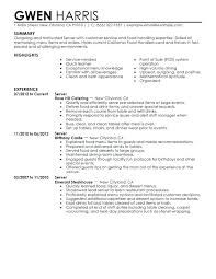 Resume Summary Examples Hostess With Server Example Sample Of