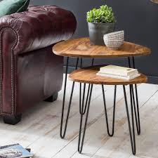 finebuy design satztisch fb51455 sheesham metall beistelltisch 2er set klein couchtisch set 2 holz tische massivholz wohnzimmertisch metallgestell