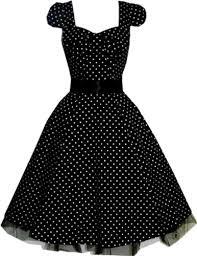 Cozy 1950s Swing Dress Black Polka Evening Prom