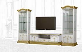 barock stil wohnwand remo in weiss gold interdesign24 de