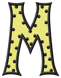 Text And Shapes Embroidery Design Polka Dot Letter M from Grand
