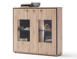 highboard mendoza 2 balkeneiche 153x143x38 cm schrank wohnzimmer expendio