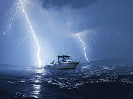 Boat In A Lightning Storm