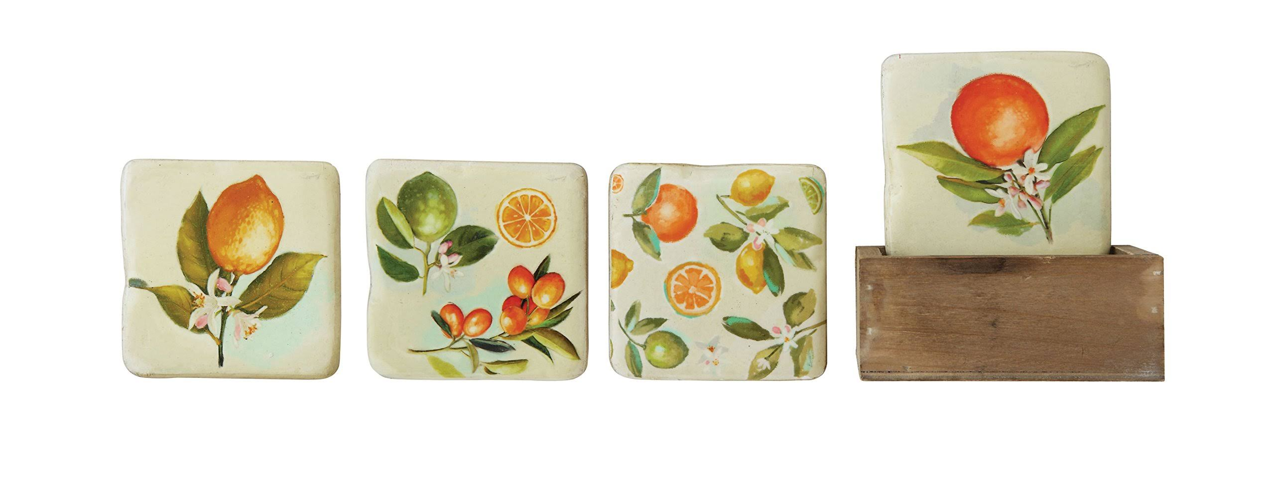 Creative Co-op DA9520 4 Citrus Image Square Resin Coasters in Wood Box