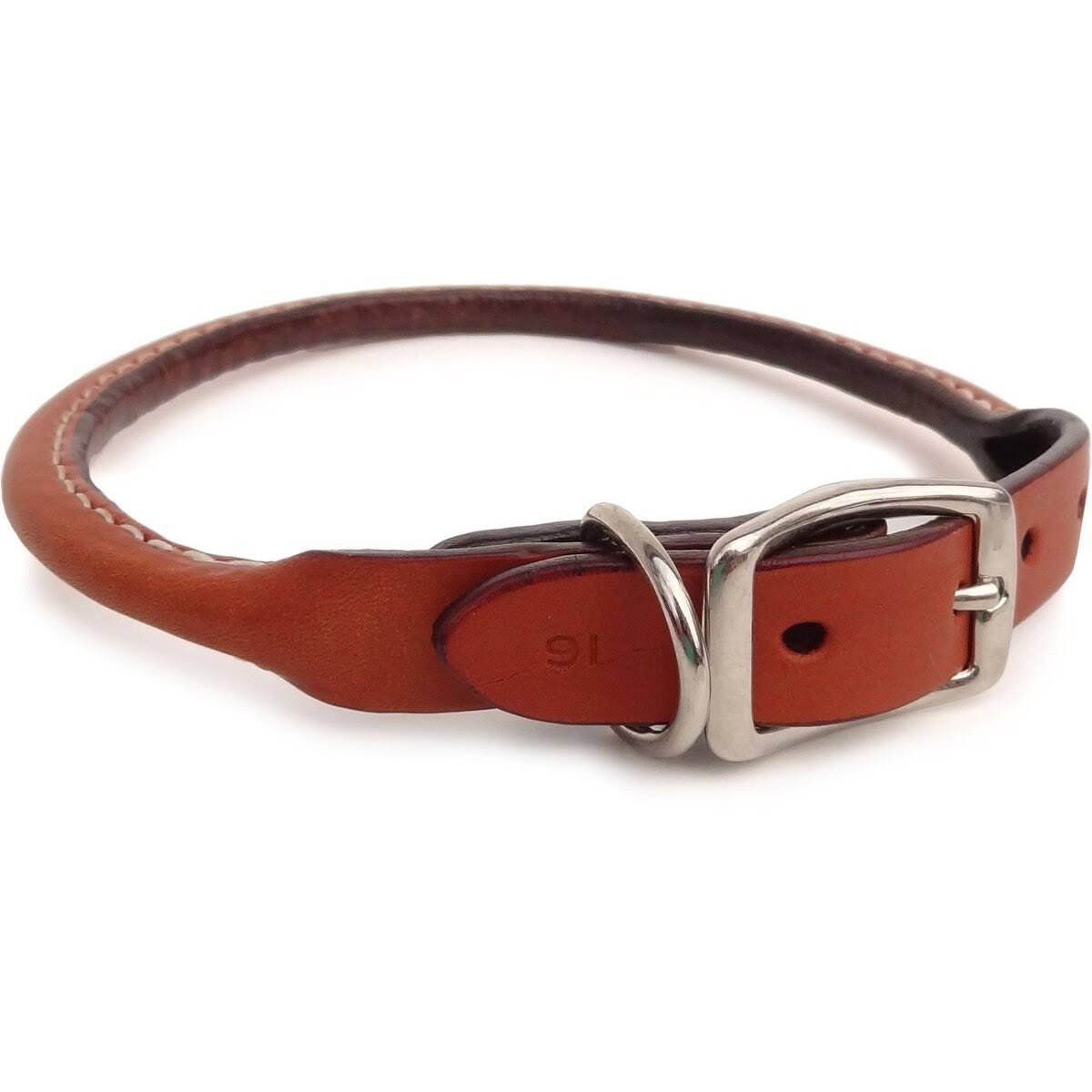 Auburn Leathercrafters Durable Leather Classic Rolled Dog Pet Collars - Tan, 10-12""