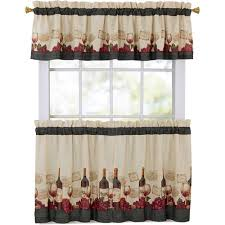 Walmart Kitchen Cafe Curtains by Mainstays Vineyard 3 Piece Kitchen Curtain Set Walmart Com