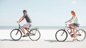 Stock Video Of A Couple Riding Bikes At The