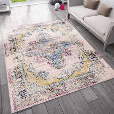 wohnzimmer teppich vintage look designer kurzflor teppich in bunt vimoda homestyle