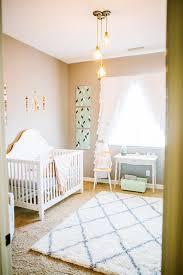 Peach Curtains For Nursery by Sweet Grey Nursery Design With Splashes Of Peach And Mint Colors