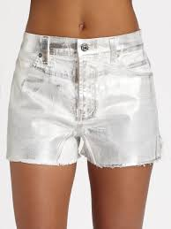 7 for all mankind carlie silver foil cutoff shorts in white lyst