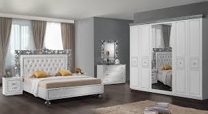 schlafzimmer siena in weiss silber 6 teilig ohne lattenrost 7 zonen comfortschaum matratze ca 16cm hoch
