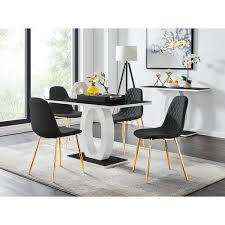 essgruppe samirah mit 4 stühlen metro farbe stühle schwarz gold