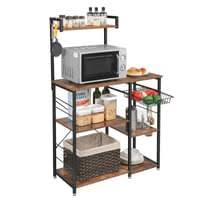 vasagle küchenregal mit metallkorb bäckerregal mit 6 s haken und regale standregal mikrowellenregal gewürzregal vintage dunkelbraun kks35x