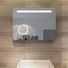 sunnyshowers led bad spiegel 80 x 60cm wandspiegel badezimmer lichtspiegel badspiegel mit beleuchtung mit kosmetikspiegel touchschalter